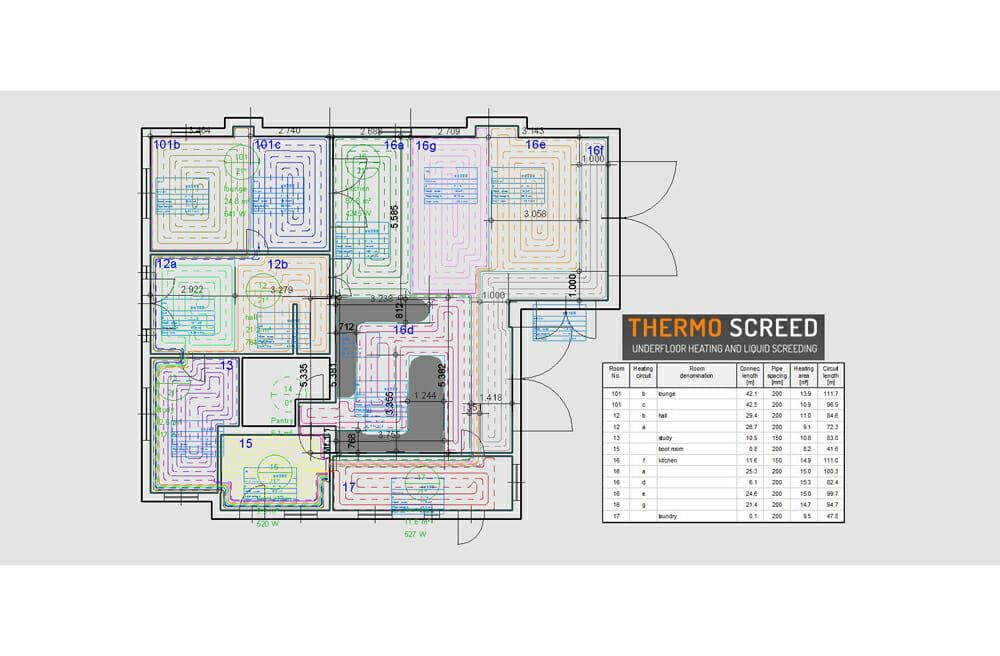 Underfloor heating drawings